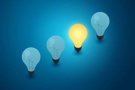 Concept with light bulbs blue background and idea creativity thinking. illustration vector