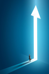 Obraz Businessman walking go to front of bright big shining arrow in the wall darke blue of the hole at light falls. illustration Vector - fototapety do salonu