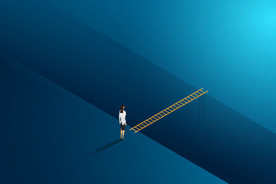 Business challenge businesswoman standing thinking looks at ladder cross to goal success. illustration Vector