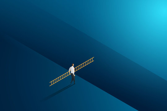 Businessman walking holding ladder cross to goal success with challenge. illustration Vector