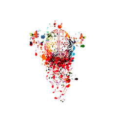Music background with colorful human brain and music notes isolated vector illustration design. Artistic music festival poster, live concert events, party flyer, music notes symbols, composing