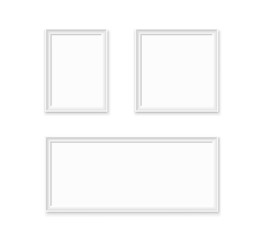 Wall Mural - Set of white blank photo frames.