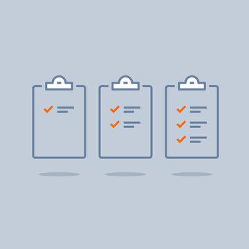 Efficient work, project plan, task management check list, fast progress, level up concept, short questionnaire, opinion survey