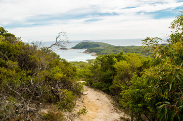 Wilsons Promontory National Park (Australia, Victoria): Scenic view from walking trail. Cloudy sky.
