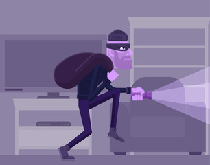 A thief, burglar or robber criminal cartoon character with his bag of swag and torch prowling in a house