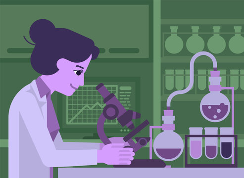 A female woman scientist working in a scientific laboratory with microscope and other science lab equipment