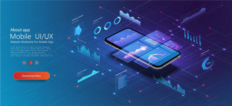 Market trend analysis on smartphone with line chart and graphs analysis. Design infographic, statistics on screen. Landing page template. Market trend analysis on smartphone with graphs. Isometric