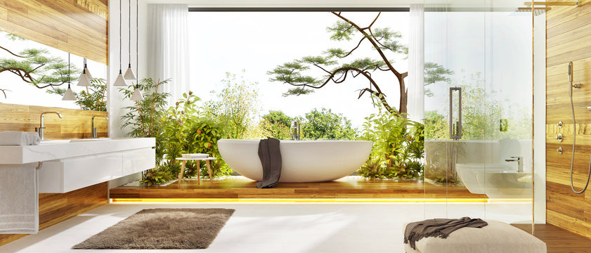 Modern bathroom with white bath, plants, shower and large window. Luxurious wooden bathroom