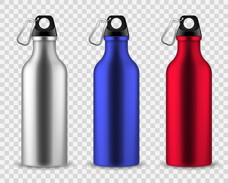 Metal water bottle. Drinking reusable bottles, drink aluminum flask fitness sports realistic stainless vector set