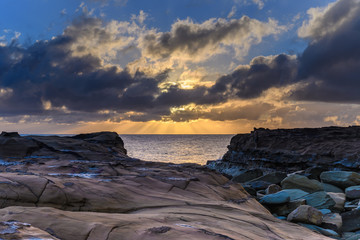Sun Rays Sunrise Seascape