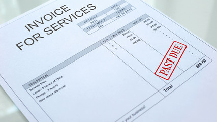 Past due seal stamped on invoice for services bill, financial form, paperwork Wall mural