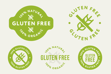 Gluten Free. No Wheat. Allergy Diet. Collection of Green Organic Natural Eco Bio Food Products Label Stamp.
