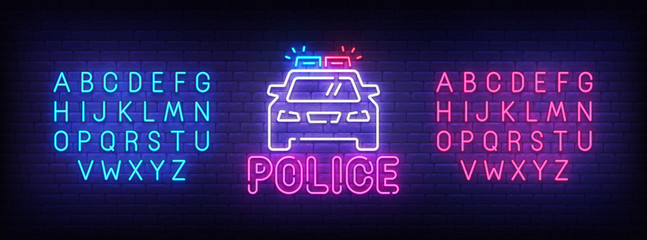 Police neon sign, bright signboard, light banner. Police logo, emblem and label. Neon sign creator. Neon text edit