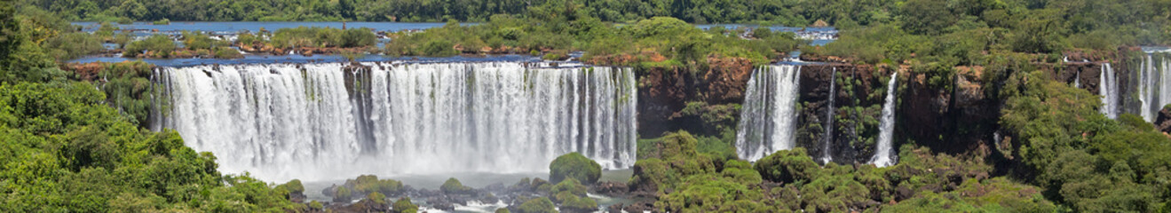 Iguazu Falls and River, Brazilian Side Panorama