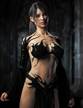Portrait of a sexy fit Caucasian female goth character portraying as a sorceress or witch , appearing from her castle bed chambers.Woman has a skimpy black costume and has long black hair.3d rendering
