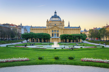 Art Pavilion and Park at sunset in Zagreb, Croatia