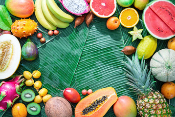 Assortment of tropical fruits on leaves of palm trees