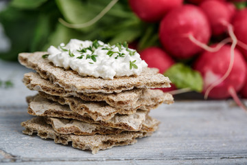 Crispbread with Cottage Cheese and Radish