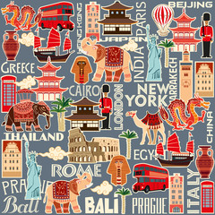 Seamless pattern of tourist attractions and objects of different countries. Vector color graphics