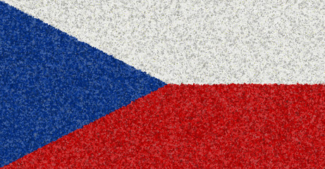Illustration of a Czech flag with a blossom pattern