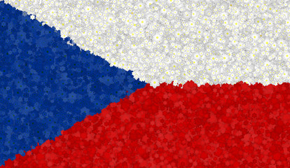 Graphic illustration of a Czech flag with a flower pattern