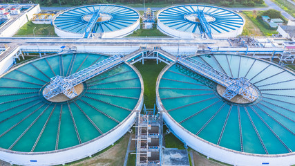 Aerial view recirculation solid contact clarifier sedimentation tank, Water treatment solution, Industrial water chemical treatment‎.