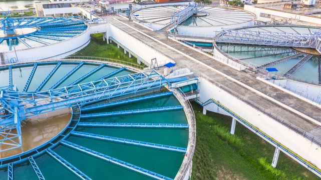 Aerial view circle circular recirculation solid contact clarifier sedimentation tank, Water clean treatment solution, Industrial water chemical treatment.