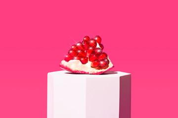 Pomegranate Fruit on Bright Isolated Background