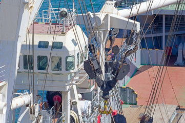 Marine mooring equipment on forecastle deck of ship