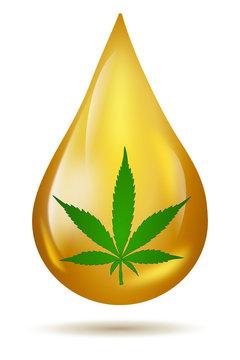 Cannabis CBD Öl Tropfen Hanf Blatt isoliert