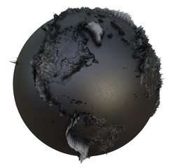 Abstract Black Earth Globe, Continets Extruded or Displacement