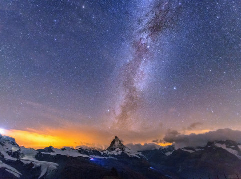 Milky way Matterhorn , Zermatt , Switzerland.