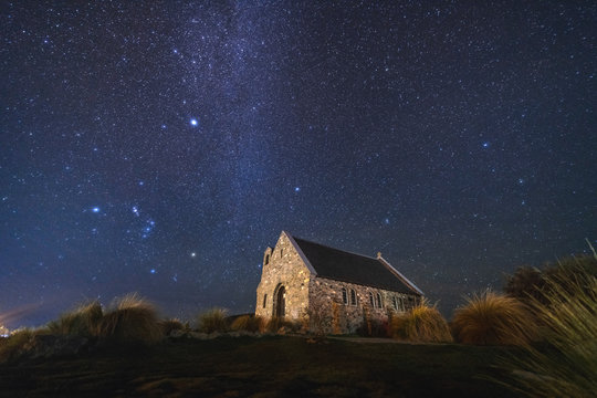 Milky Way Rising Above Church Of Good Shepherd, Tekapo NZ with Aurora Australis Or The Southern Light Lighting Up The Sky