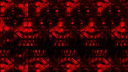 Scary zombie face pattern on black background.