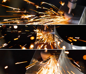 Drill with diamond-tipped polishing metal parts. collage of photos.