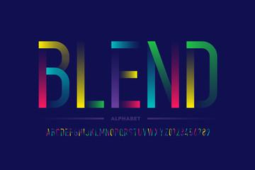 Modern colorful font design, alphabet letters and numbers Fotoväggar
