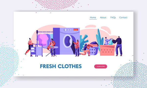 Male and Female Characters Visiting Laundry Loading Clothes to Wash Machine, Ironing, Rolling Cart in Launderette. Wash Service Website Landing Page, Web Page. Cartoon Flat Vector Illustration, Banner