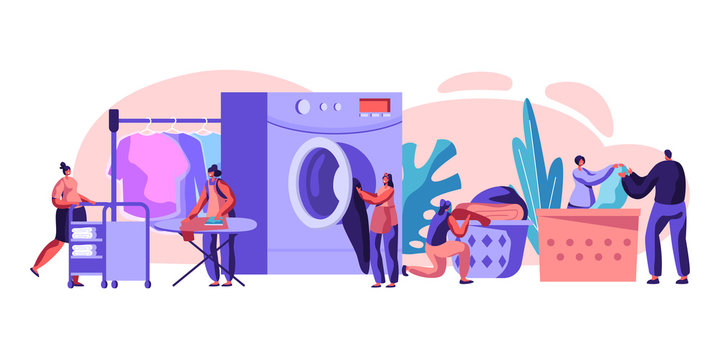 Male and Female Characters Visiting Laundry Loading Dirty Clothes to Washing Machine, Ironing, Rolling Cart with Clean Dresses in Public Launderette. Wash Service Cartoon Flat Vector Illustration