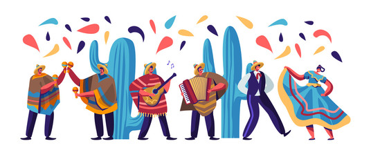 Cinco De Mayo Festival with Mexican People In Colorful Traditional Clothes, Musicians with Guitar, Maracas and Accordion and Dancers Celebrating National Holiday. Cartoon Flat Vector Illustration