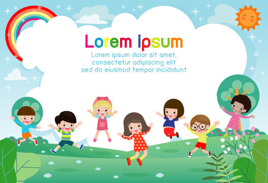 Happy children jumping and dancing on the park, kids activities,  children playing in playground, Template for advertising brochure,your text, flat Funny cartoon character,design Vector Illustration