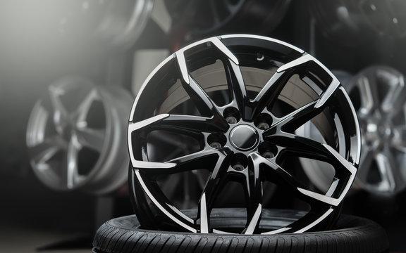 beautiful alloy wheels dark background, close up.