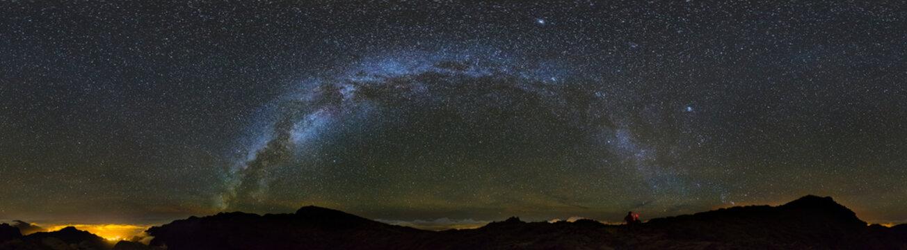 Milkyway Panorama Above La Palma Caldera