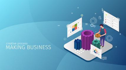 modern isometric design style conceptual composition Making Business metaphor