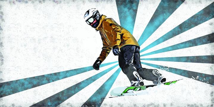 Snowboarding Artistic Vector Illustration