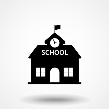 High school building icon vector, filled flat sign, solid pictogram isolated on white. Symbol, logo illustration.