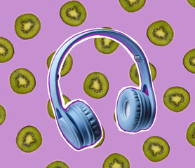 Zine style, pop art design. Creative collage with headphones and kiwi fruit
