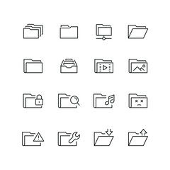 Folders related icons: thin vector icon set, black and white kit