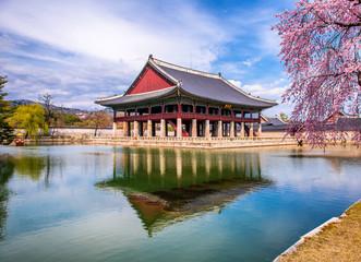 Gyeongbokgung palace in spring at seoul city south Korea  Wall mural