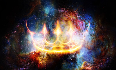 Royal crown in cosmic space. Light crown.