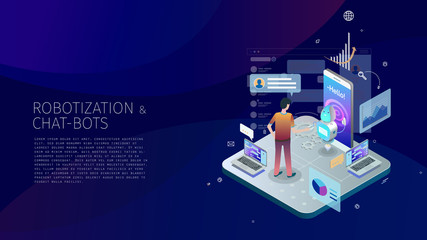 modern isometric design style conceptual composition Robotization and Chat-bots metaphor
